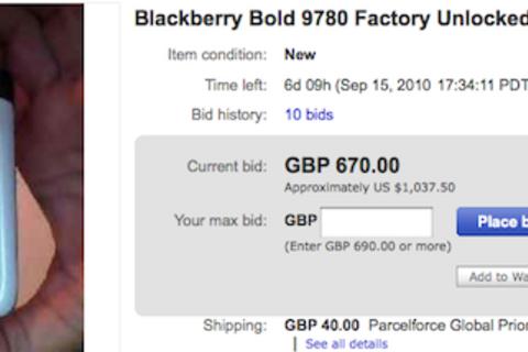 White BlackBerry Bold 9780 spotted on eBay!