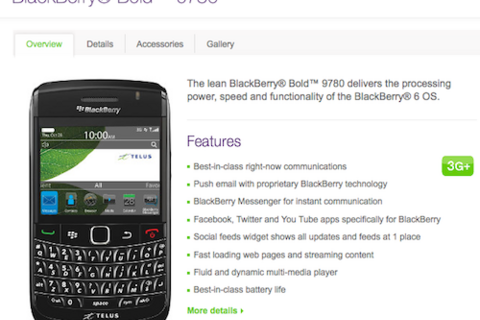 BlackBerry Bold 9780 now available online from Telus