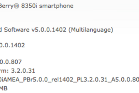 Official OS 5.0.0.807 for the BlackBerry Curve 8350i now available from Telus