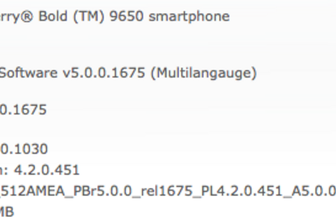 Official OS 5.0.0.1030 for the BlackBerry Bold 9650 now available from Sprint