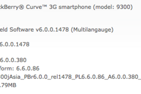 Official OS 6.0.0.380 for the BlackBerry Curve 3G 9300 from StarHub Ltd.