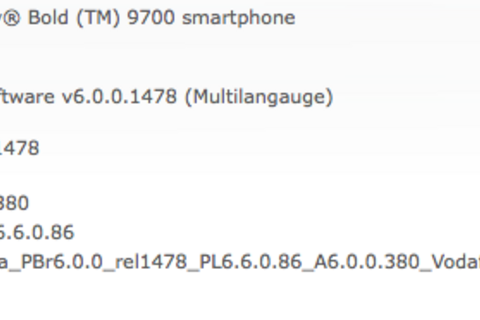 Official OS 6.0.0.380 for the BlackBerry Bold 9700 now available from Vodafone Essar Limited