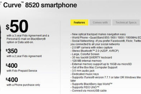 BlackBerry Curve 8520 Now Available from Fido