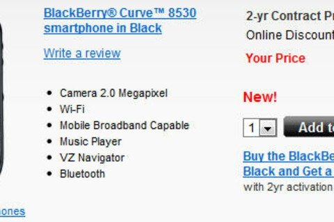 BlackBerry Curve 8530 Now Available From Verizon Wireless
