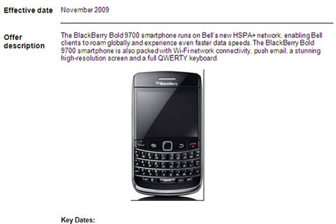 BlackBerry Bold 9700 on Bell Mobility's HSPA Launch List