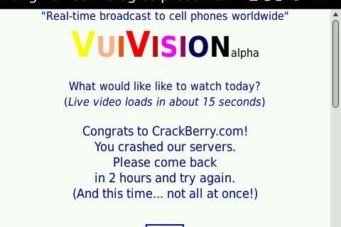 Watch Live TV On Your BlackBerry with VuiVision