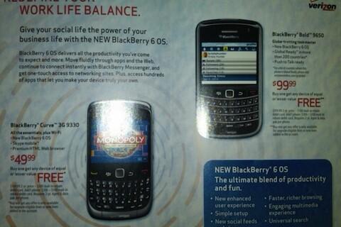 Verizon flyer arrives sporting BlackBerry OS 6