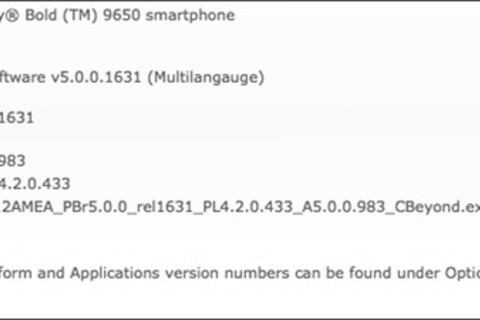 Official OS 5.0.0.983 For The BlackBerry Bold 9650 released by CBeyond