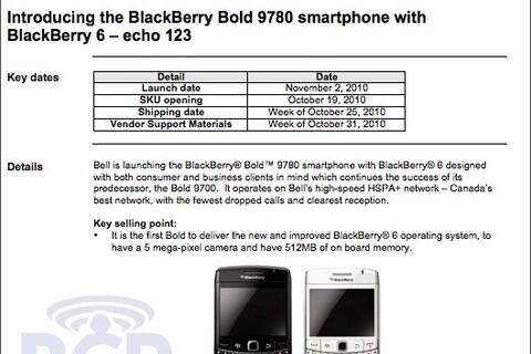 BlackBerry Bold 9780 arriving on Bell November 2nd