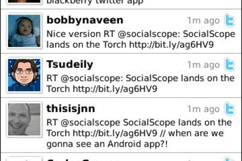 Socialscope now compatible with the BlackBerry Torch
