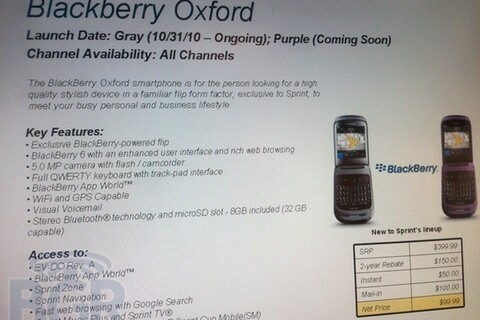 Sprint to launch BlackBerry Oxford (Style) October 31st?!