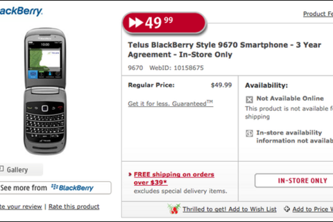 TELUS BlackBerry Style priced at $49.99 according to Future Shop ad