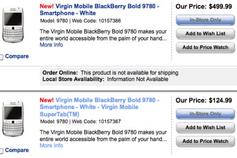 Virgin Mobile launching the BlackBerry Bold 9780 in white