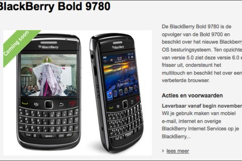 BlackBerry Bold 9780 appears on Vodafone NL website