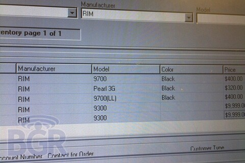 BlackBerry Curve 3G shows up in WIND Mobile inventory system