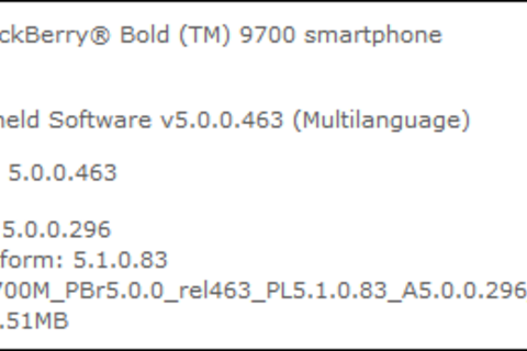 AT&T BlackBerry Bold 9700 OS 5.0.0.296 Available For Download