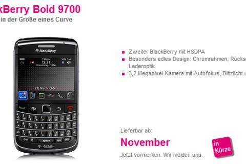T-Mobile Germany Displays BlackBerry Bold 9700 Online Coming In November