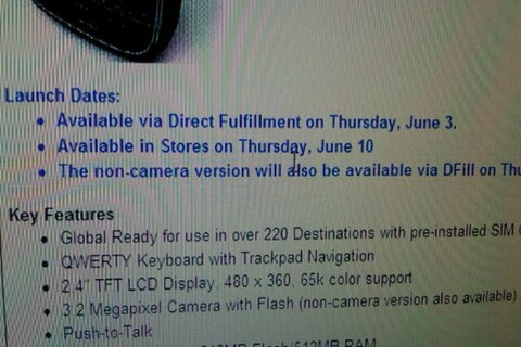 Verizon BlackBerry Bold 9650 available for direct fufillment June 3rd; In stores June 10th?