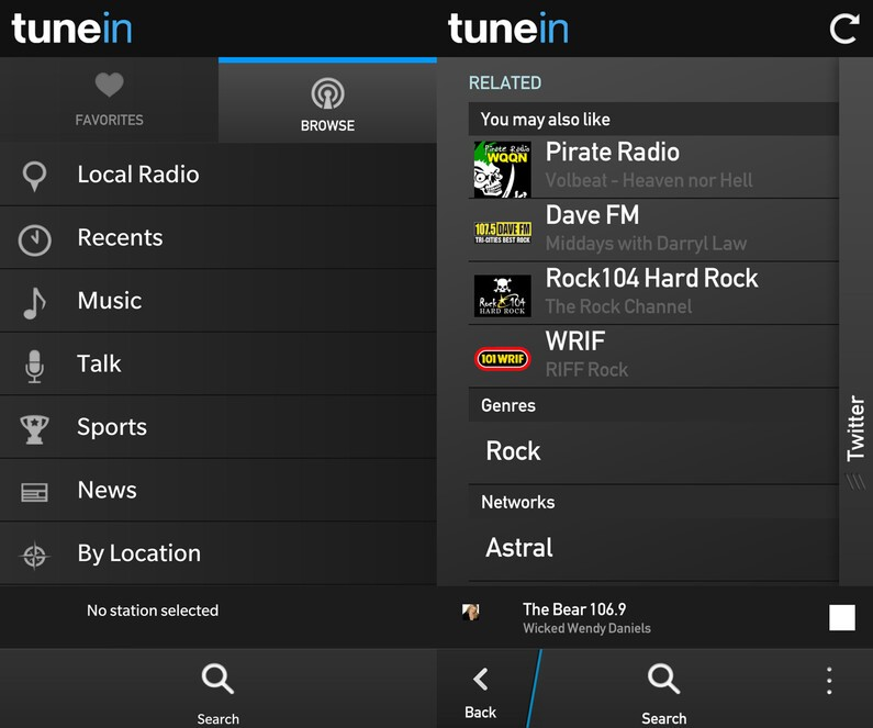 TuneIn Radio for BlackBerry 10