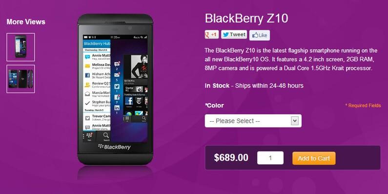 BlackBerry Z10 at Solavei