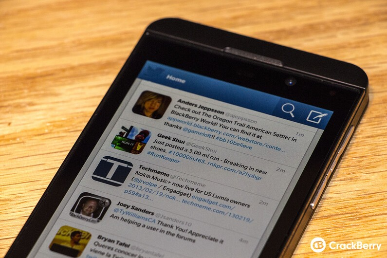 Twitter for BlackBerry 10 updated to v10.0.0.45