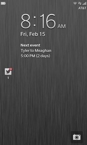 BlackBerry Z10 lock screen
