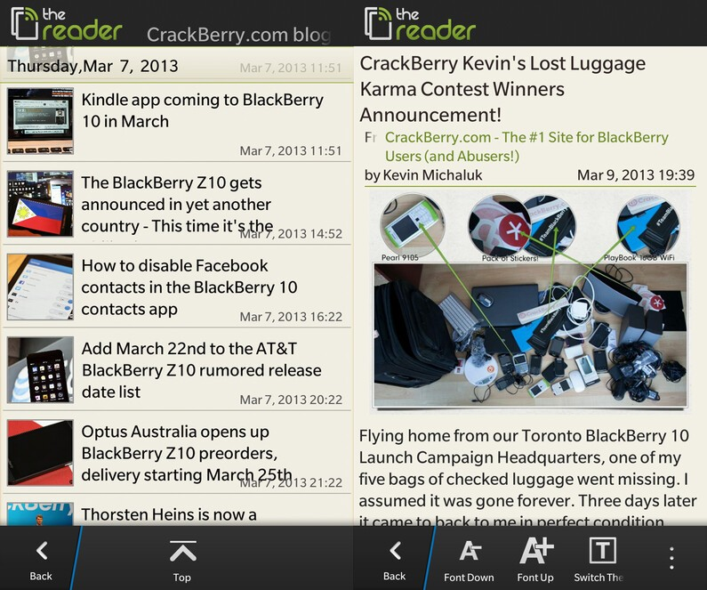 The Reader for BlackBerry 10