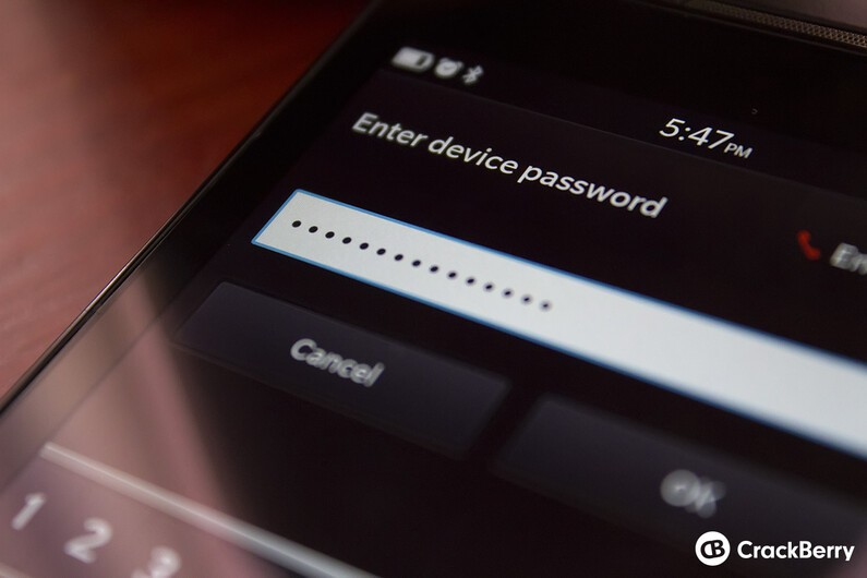 BlackBerry Z10 device passwords