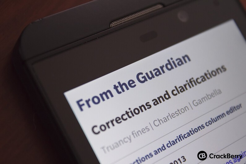 The Guardian on BlackBerry Z10