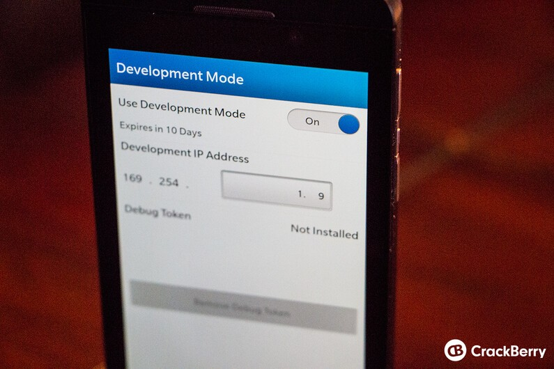 BlackBerry 10 Development Mode