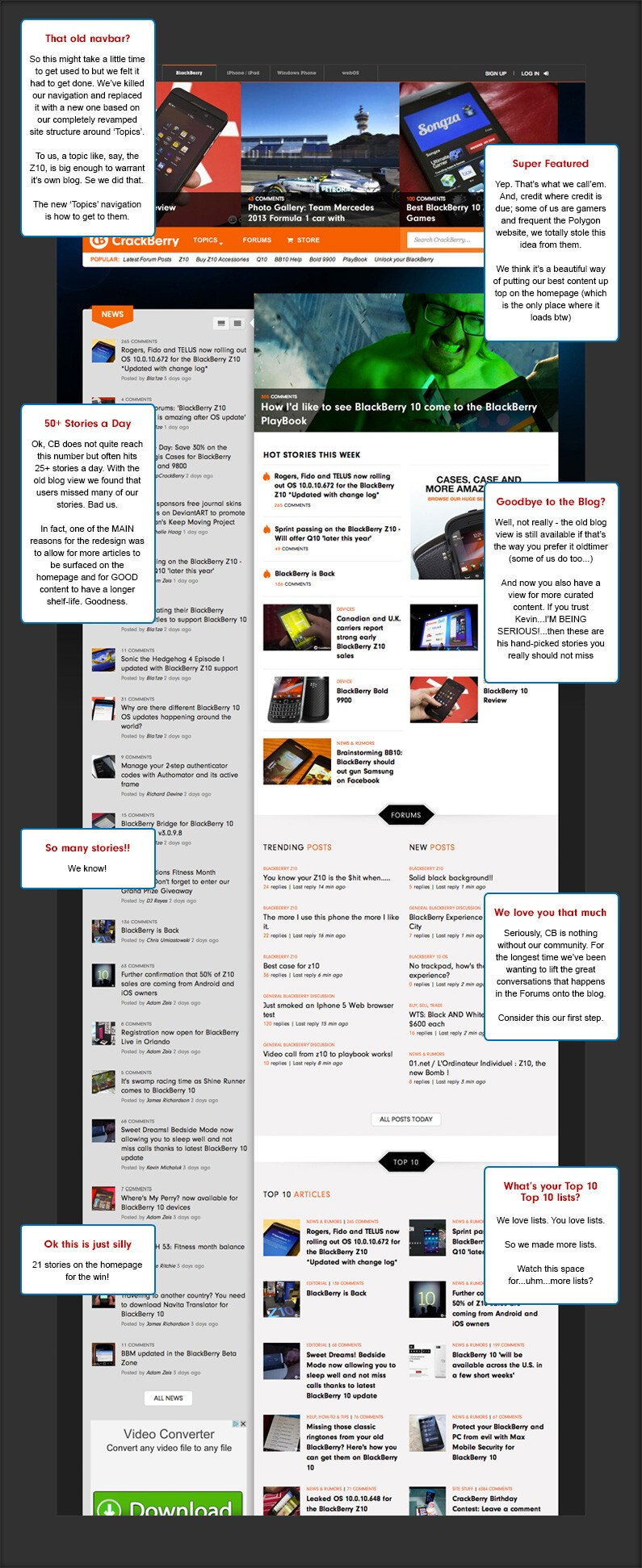 notes on the CrackBerry redesign homepage