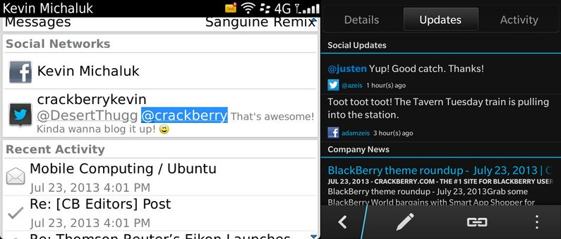 Contacts for BlackBerry 7 and BlackBerry 10