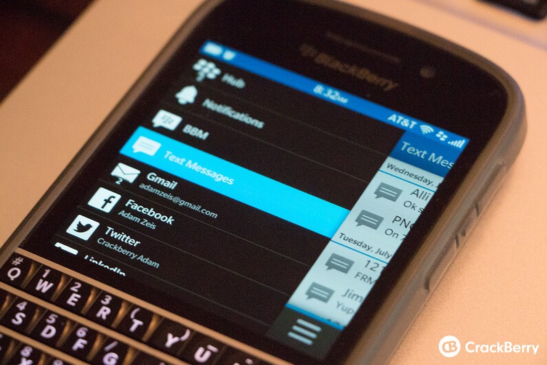 blackberry text messages not showing