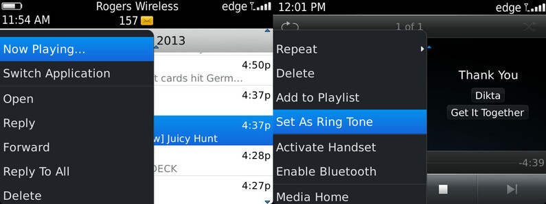 Music on BlackBerry 7