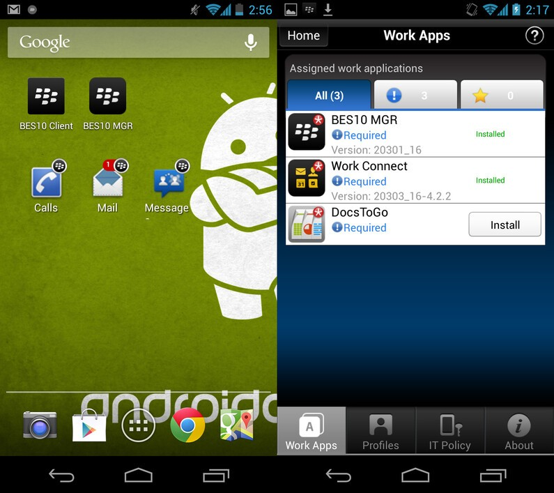 BlackBerry Secure Workspace for Android