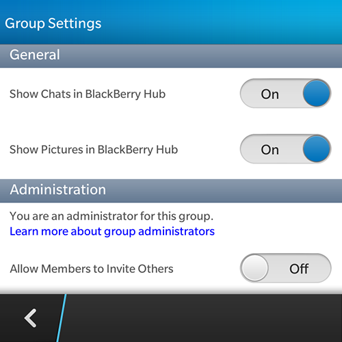 BBM Group Settings
