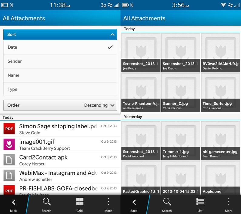 BlackBerry 10.2 Attachment view