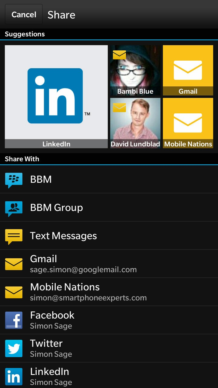 BlackBerry 10.2 adaptive sharing