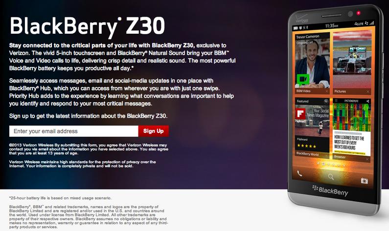 Verizon BlackBerry Z30 landing page goes live