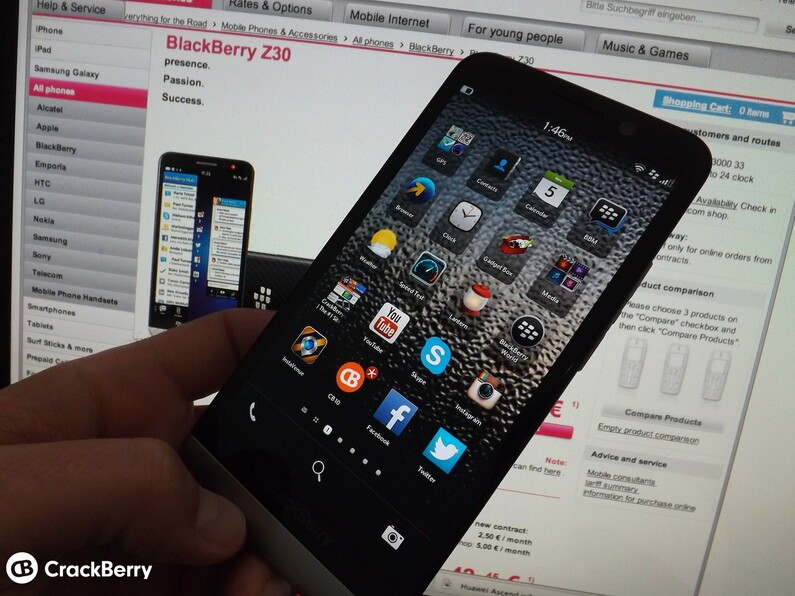 BlackBerry Z30 launches on T-Mobile Germany
