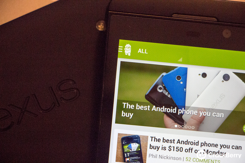 Android Central app on BlackBerry