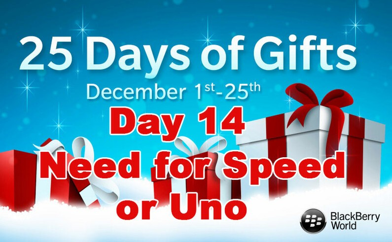 Need for Speed and Uno - Day 14 of BlackBerry's 25 Days of Gifts