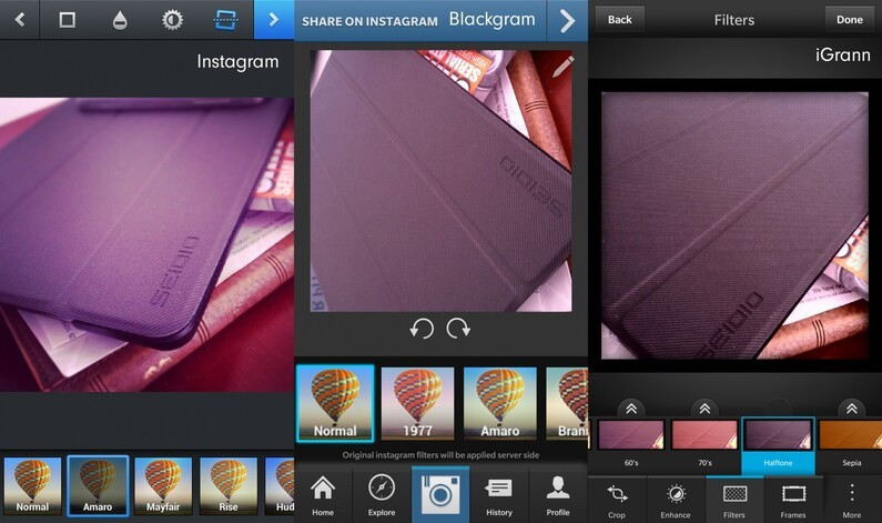 Editing Instagram pictures on BlackBerry