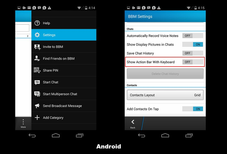 Android/iOS BBM Settings