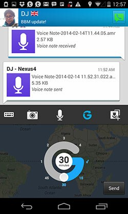 BBM 2.0 Glympse location sharing
