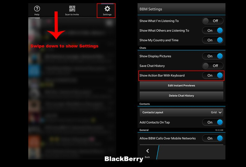 Access BlackBerry Settings
