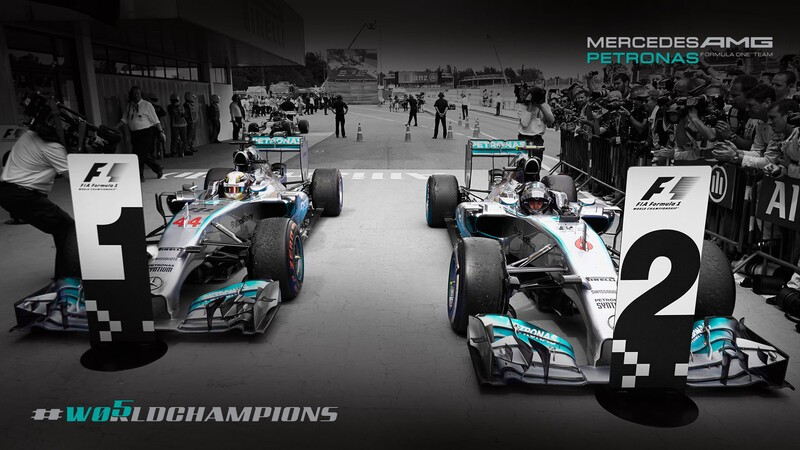Mercedes-Benz celebrates one-two victory in the Formula 1 drivers' world championship