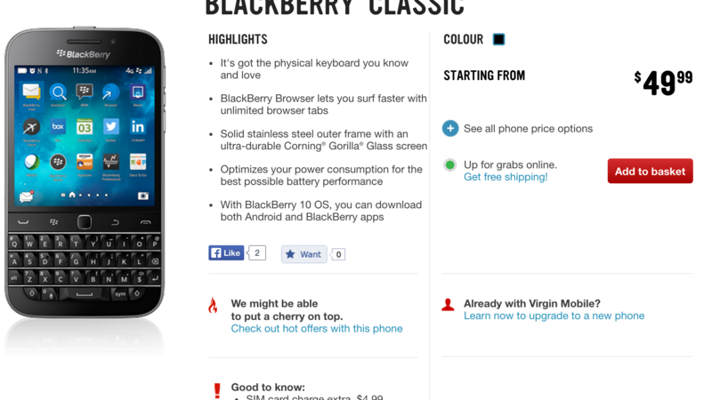 BlackBerry Classic now available through Virgin Mobile