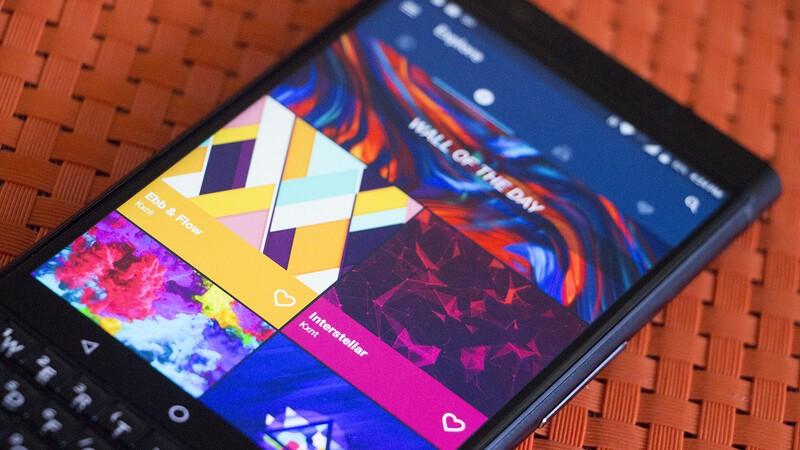 Photo showing Backdrops wallpaper app open on KEYone