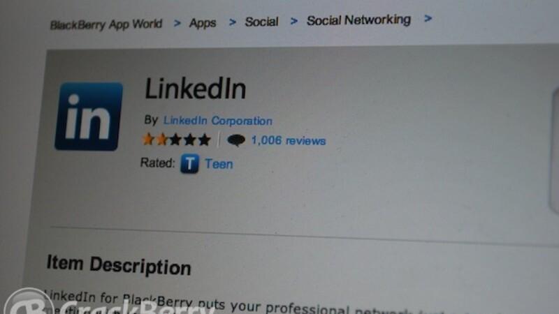 LinkedIn for BlackBerry v2.0 now available
